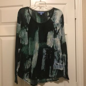 Simply Vera long-sleeved top in blues and greens
